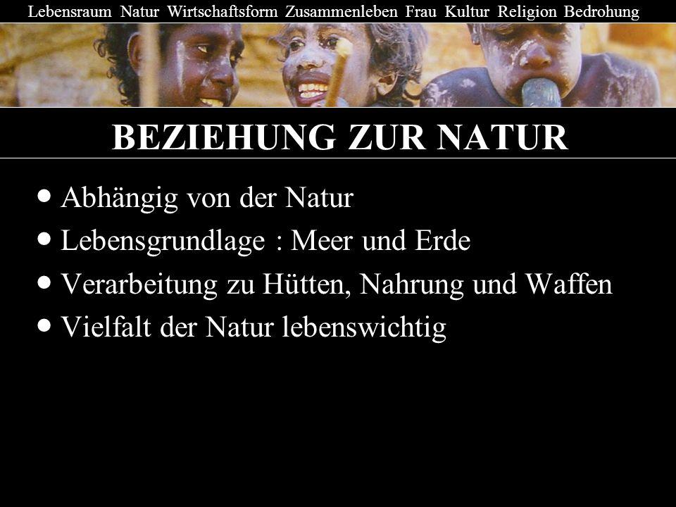 BEZIEHUNG ZUR NATUR Abhängig von der Natur Lebensgrundlage : Meer und Erde Verarbeitung zu Hütten, Nahrung und Waffen Vielfalt der Natur lebenswichtig