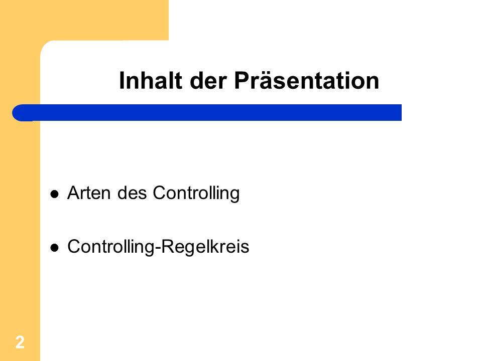 2 Inhalt der Präsentation Arten des Controlling Controlling-Regelkreis
