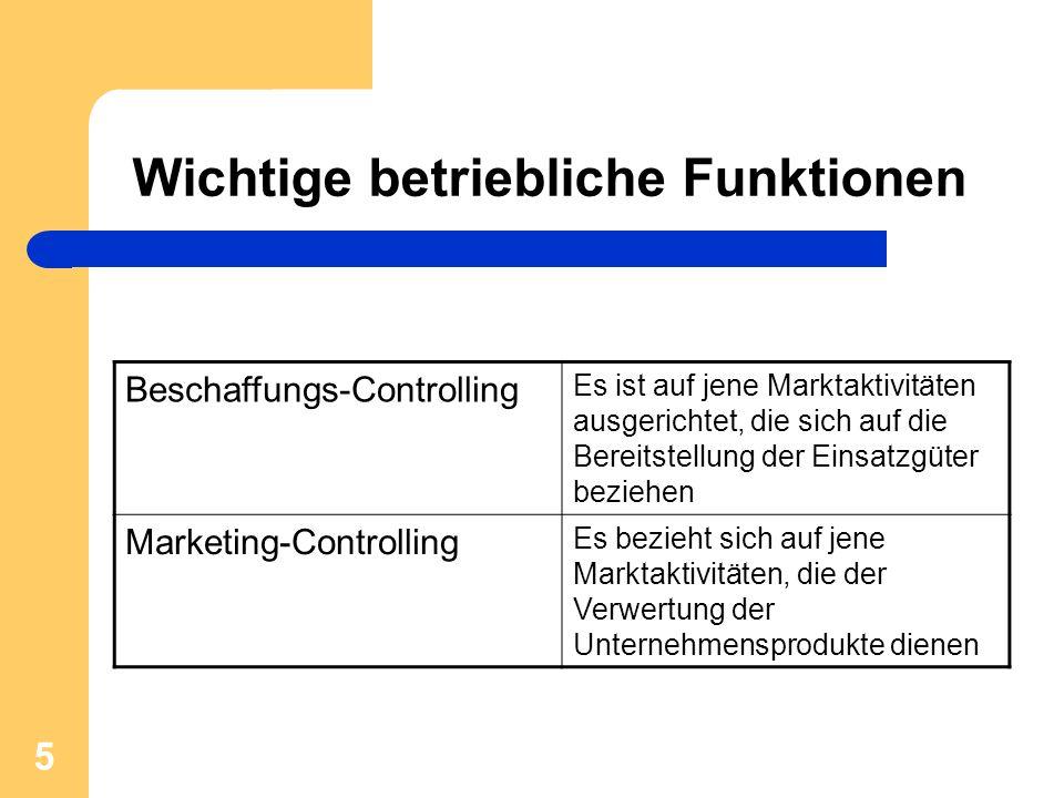 5 Wichtige betriebliche Funktionen Beschaffungs-Controlling Es ist auf jene Marktaktivitäten ausgerichtet, die sich auf die Bereitstellung der Einsatz