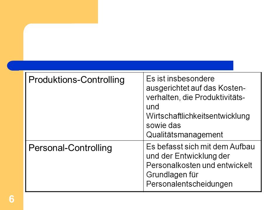 6 Produktions-Controlling Es ist insbesondere ausgerichtet auf das Kosten- verhalten, die Produktivitäts- und Wirtschaftlichkeitsentwicklung sowie das