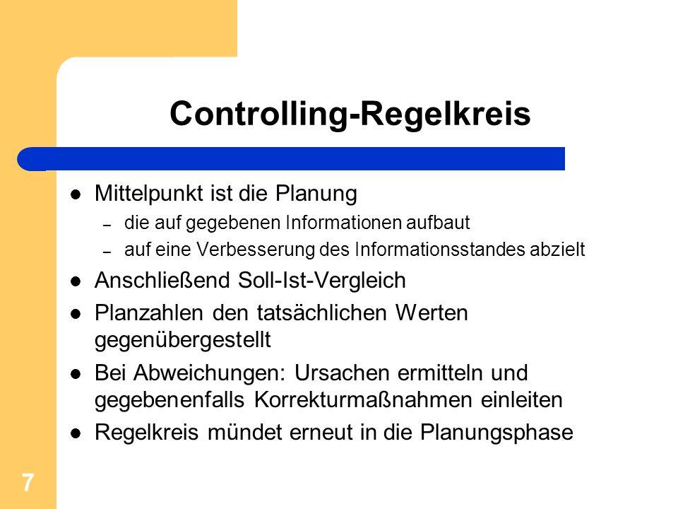 7 Controlling-Regelkreis Mittelpunkt ist die Planung – die auf gegebenen Informationen aufbaut – auf eine Verbesserung des Informationsstandes abzielt