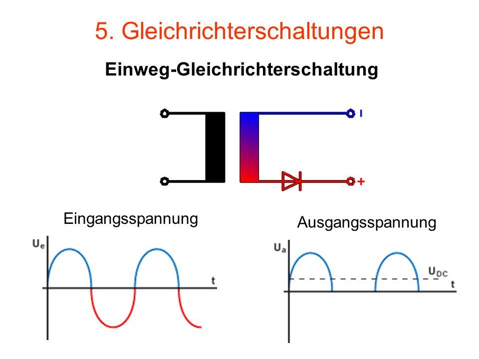 5. Gleichrichterschaltungen Einweg-Gleichrichterschaltung Eingangsspannung Ausgangsspannung