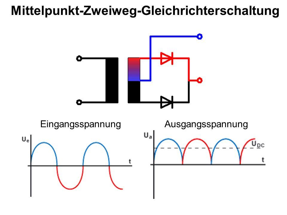 Mittelpunkt-Zweiweg-Gleichrichterschaltung EingangsspannungAusgangsspannung