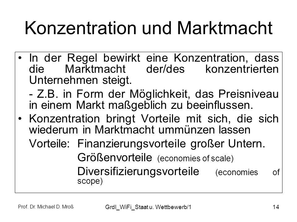 Prof. Dr. Michael D. Mroß Grdl_WiFi_Staat u. Wettbewerb/114 Konzentration und Marktmacht In der Regel bewirkt eine Konzentration, dass die Marktmacht