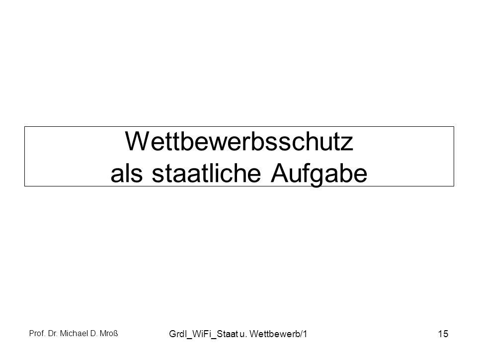 Prof. Dr. Michael D. Mroß Grdl_WiFi_Staat u. Wettbewerb/115 Wettbewerbsschutz als staatliche Aufgabe