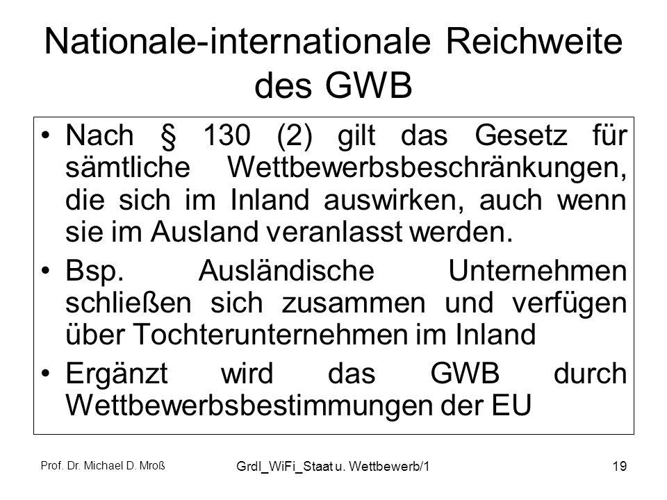 Prof. Dr. Michael D. Mroß Grdl_WiFi_Staat u. Wettbewerb/119 Nationale-internationale Reichweite des GWB Nach § 130 (2) gilt das Gesetz für sämtliche W