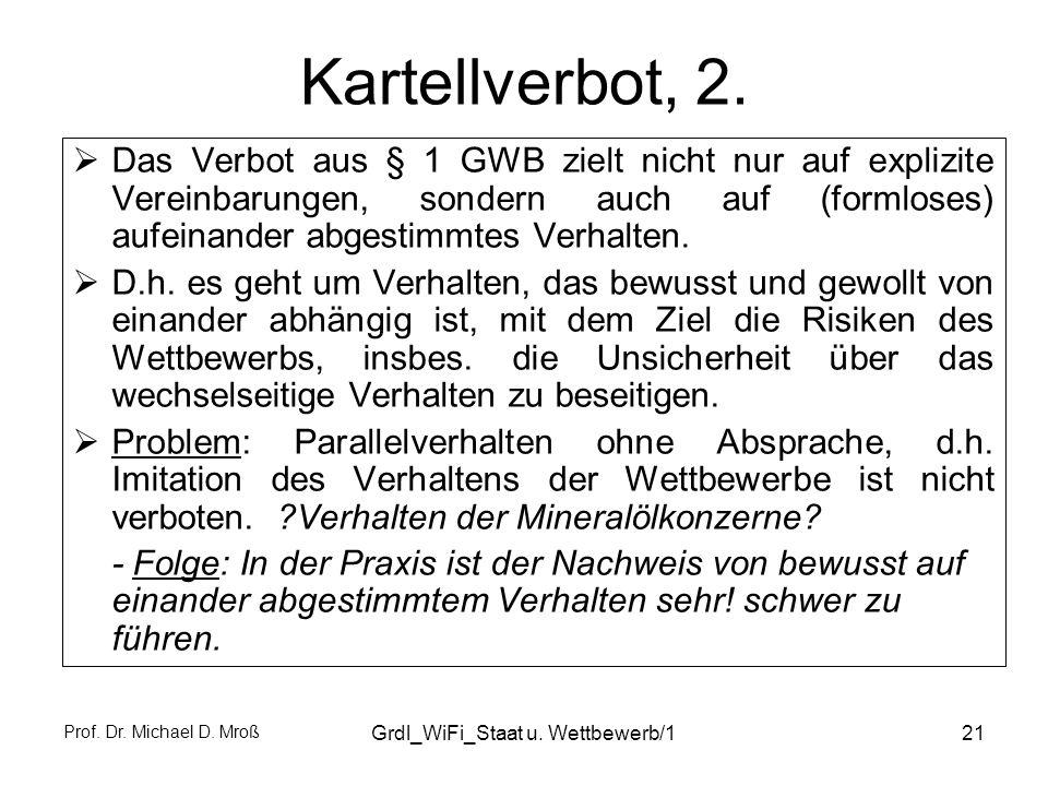 Prof. Dr. Michael D. Mroß Grdl_WiFi_Staat u. Wettbewerb/121 Kartellverbot, 2. Das Verbot aus § 1 GWB zielt nicht nur auf explizite Vereinbarungen, son