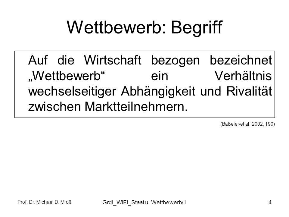 Prof. Dr. Michael D. Mroß Grdl_WiFi_Staat u. Wettbewerb/14 Wettbewerb: Begriff Auf die Wirtschaft bezogen bezeichnet Wettbewerb ein Verhältnis wechsel