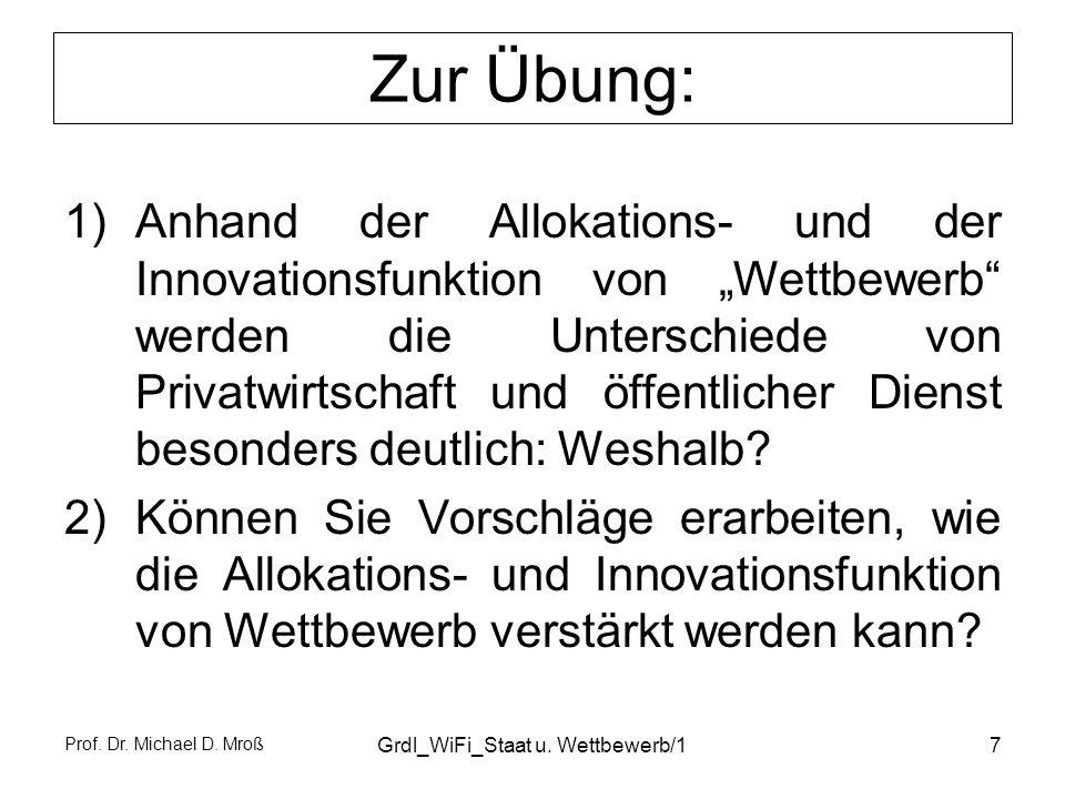 Prof. Dr. Michael D. Mroß Grdl_WiFi_Staat u. Wettbewerb/17 Zur Übung: 1)Anhand der Allokations- und der Innovationsfunktion von Wettbewerb werden die