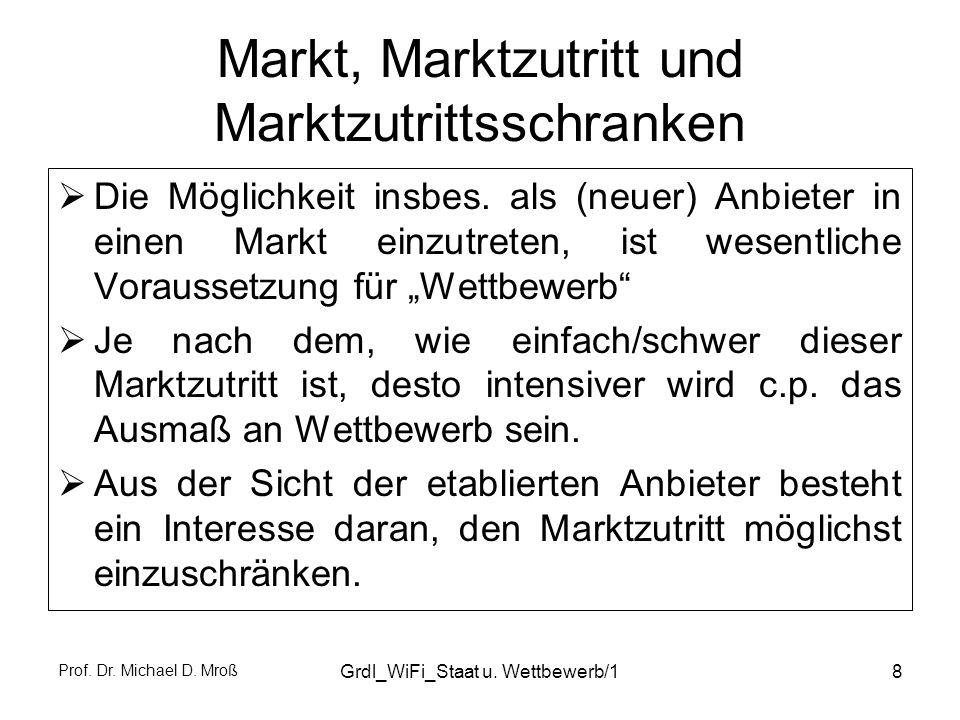 Prof. Dr. Michael D. Mroß Grdl_WiFi_Staat u. Wettbewerb/18 Markt, Marktzutritt und Marktzutrittsschranken Die Möglichkeit insbes. als (neuer) Anbieter