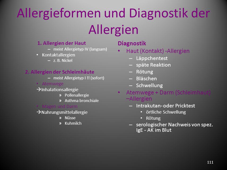 Atopie Typ I – Allergiker vererbbar 10 – 20 % der Bevölkerung typische Allergene: – Erdbeeren – Gräserpollen – Tierhaare – Schurwolle – Bienengift – K