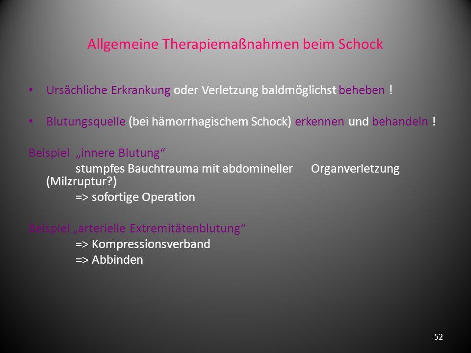 Allgemeinsymptome des Schocks Frühsymptome: Unruhe, kalter Schweiß, Durst, Übelkeit Symptome des manifesten Schocks (bei Zentralisation): Blasse, kühl