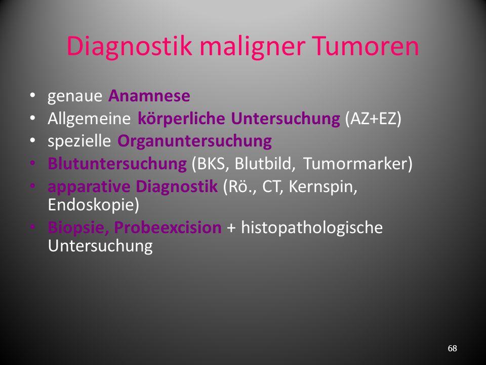 Allgemeine körperliche Symptome des malignen Tumorwachstum wenig Frühsymptome Gewichtsverlust Leistungsabfall Nachtschweiß Tumoranämie subfebrile Temp