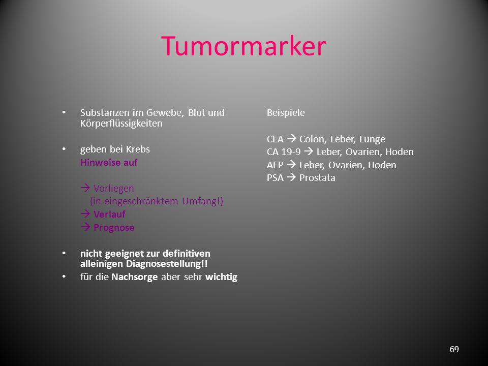 Diagnostik maligner Tumoren genaue Anamnese Allgemeine körperliche Untersuchung (AZ+EZ) spezielle Organuntersuchung Blutuntersuchung (BKS, Blutbild, T