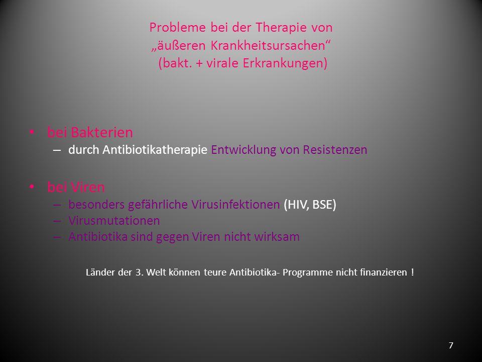 Probleme bei der Therapie von äußeren Krankheitsursachen (bakt.