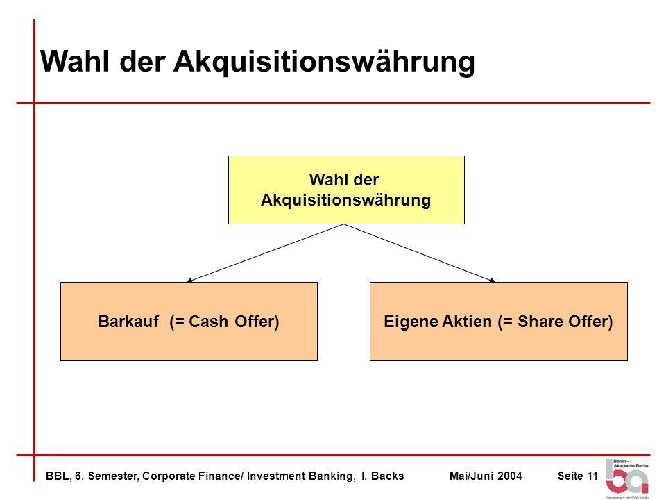 BBL, 6. Semester, Corporate Finance/ Investment Banking, I. BacksMai/Juni 2004Seite 11 Wahl der Akquisitionswährung Wahl der Akquisitionswährung Barka