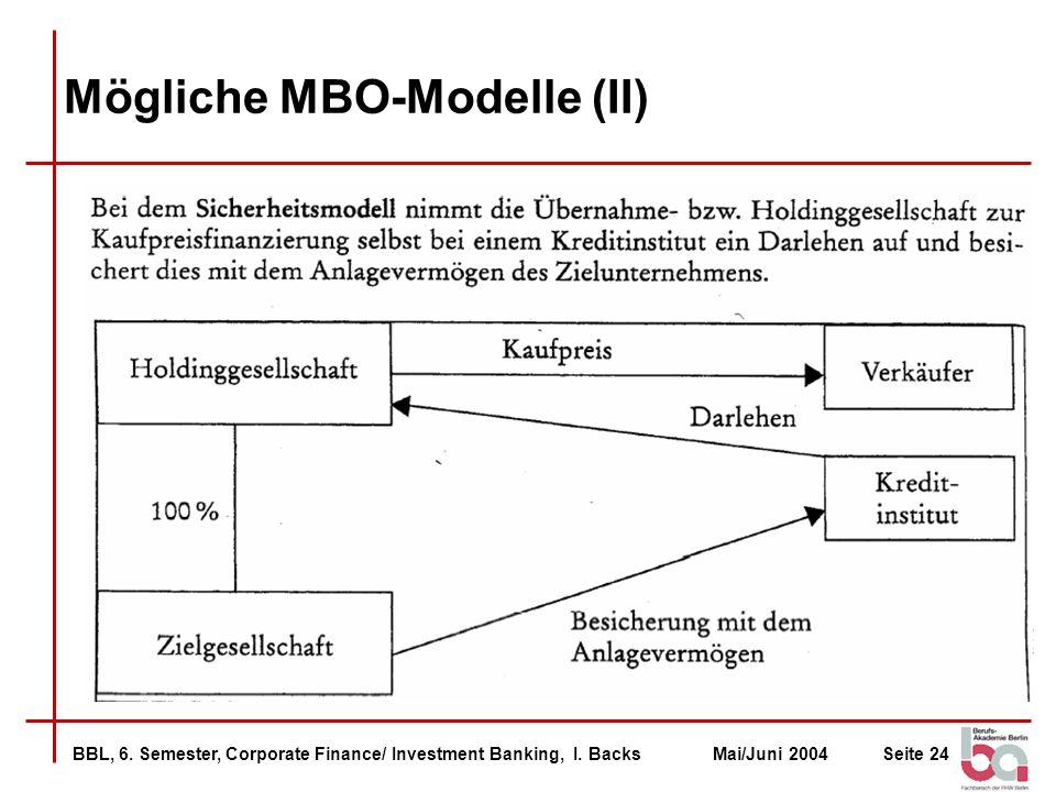 BBL, 6. Semester, Corporate Finance/ Investment Banking, I. BacksMai/Juni 2004Seite 24 Mögliche MBO-Modelle (II)