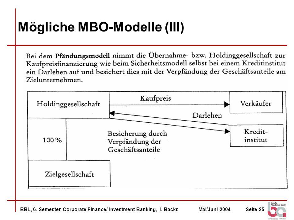 BBL, 6. Semester, Corporate Finance/ Investment Banking, I. BacksMai/Juni 2004Seite 25 Mögliche MBO-Modelle (III)