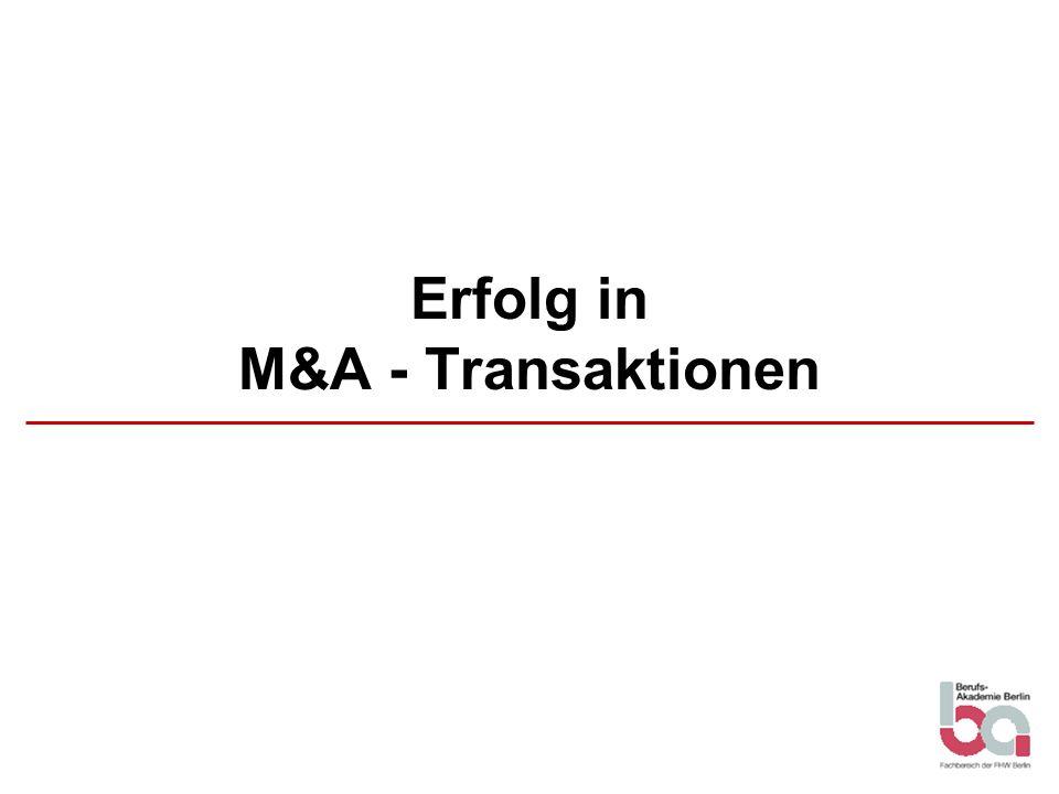 Erfolg in M&A - Transaktionen