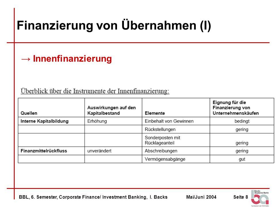 BBL, 6. Semester, Corporate Finance/ Investment Banking, I. BacksMai/Juni 2004Seite 8 Finanzierung von Übernahmen (I) Innenfinanzierung