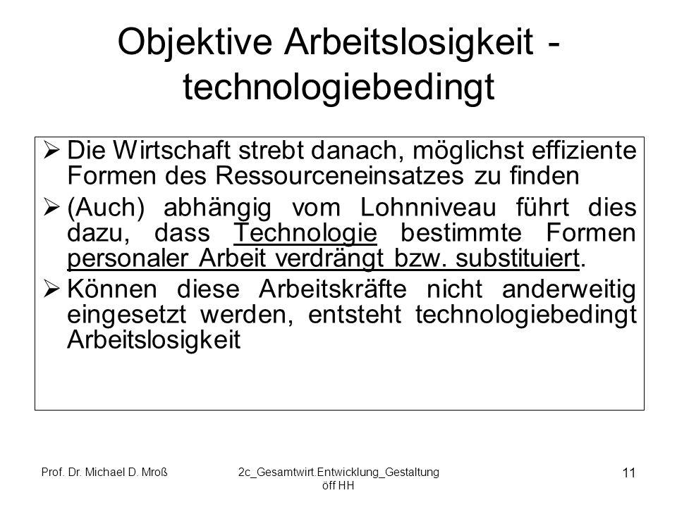 Prof. Dr. Michael D. Mroß2c_Gesamtwirt.Entwicklung_Gestaltung öff HH 11 Objektive Arbeitslosigkeit - technologiebedingt Die Wirtschaft strebt danach,