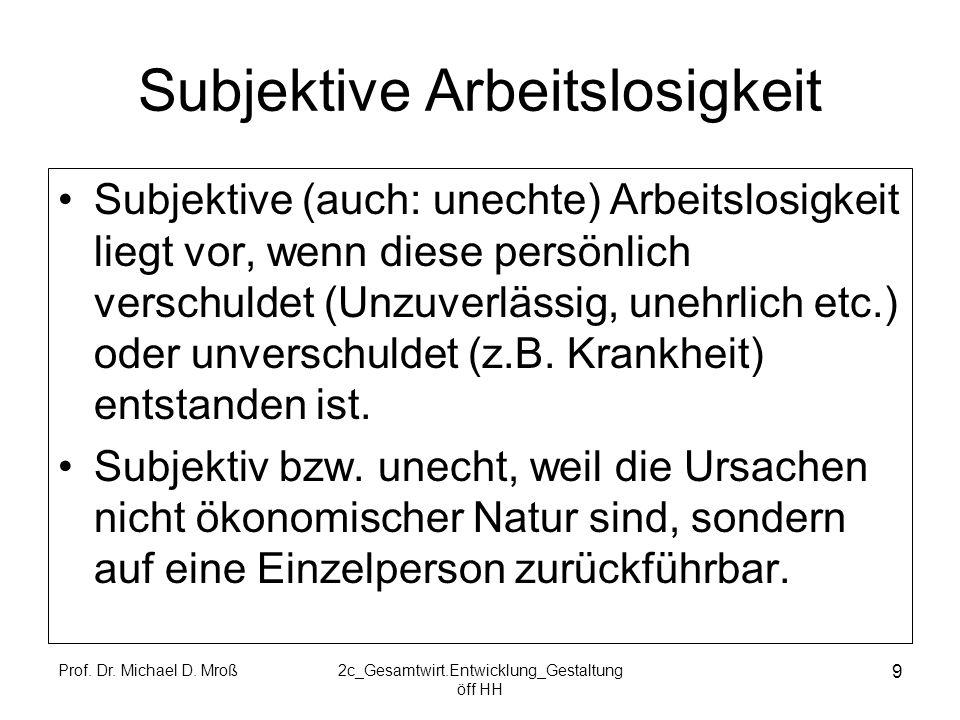 Prof. Dr. Michael D. Mroß2c_Gesamtwirt.Entwicklung_Gestaltung öff HH 9 Subjektive Arbeitslosigkeit Subjektive (auch: unechte) Arbeitslosigkeit liegt v
