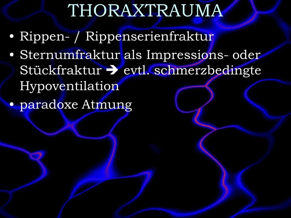 THORAXTRAUMA Rippen- / Rippenserienfraktur Sternumfraktur als Impressions- oder Stückfraktur evtl. schmerzbedingte Hypoventilation paradoxe Atmung