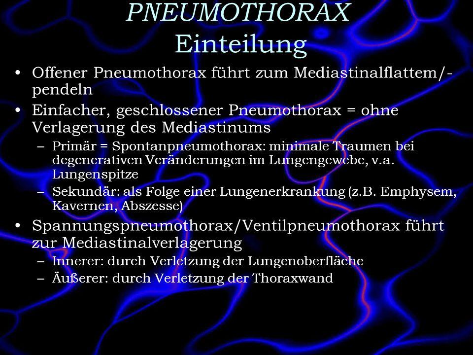 PNEUMOTHORAX Einteilung Offener Pneumothorax führt zum Mediastinalflattem/- pendeln Einfacher, geschlossener Pneumothorax = ohne Verlagerung des Media