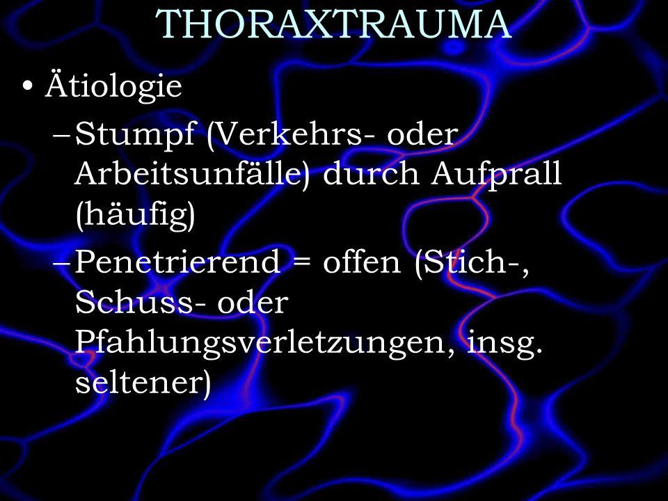 THORAXTRAUMA Ätiologie –Stumpf (Verkehrs- oder Arbeitsunfälle) durch Aufprall (häufig) –Penetrierend = offen (Stich-, Schuss- oder Pfahlungsverletzung