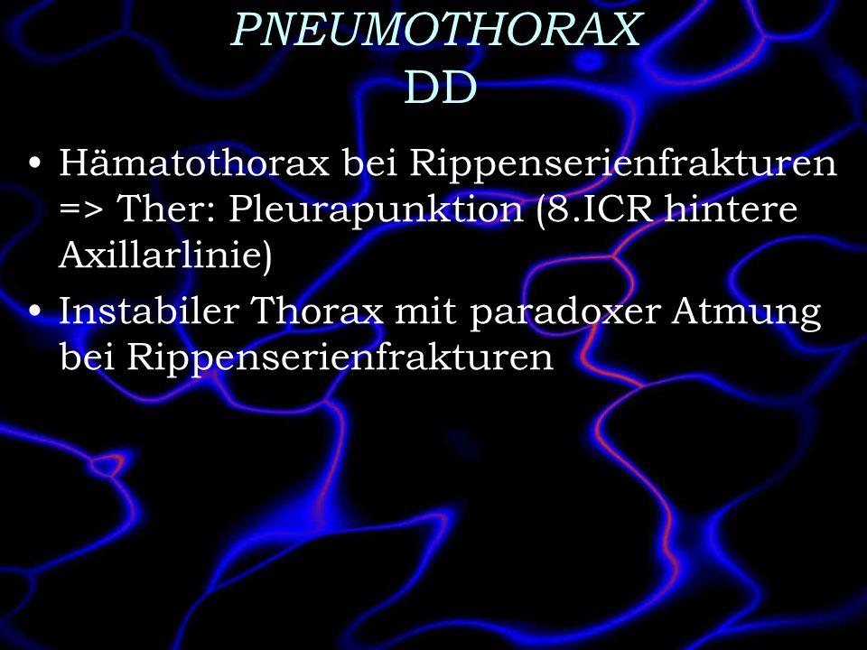 PNEUMOTHORAX DD Hämatothorax bei Rippenserienfrakturen => Ther: Pleurapunktion (8.ICR hintere Axillarlinie) Instabiler Thorax mit paradoxer Atmung bei