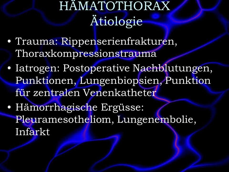 HÄMATOTHORAX Ätiologie Trauma: Rippenserienfrakturen, Thoraxkompressionstrauma Iatrogen: Postoperative Nachblutungen, Punktionen, Lungenbiopsien, Punk