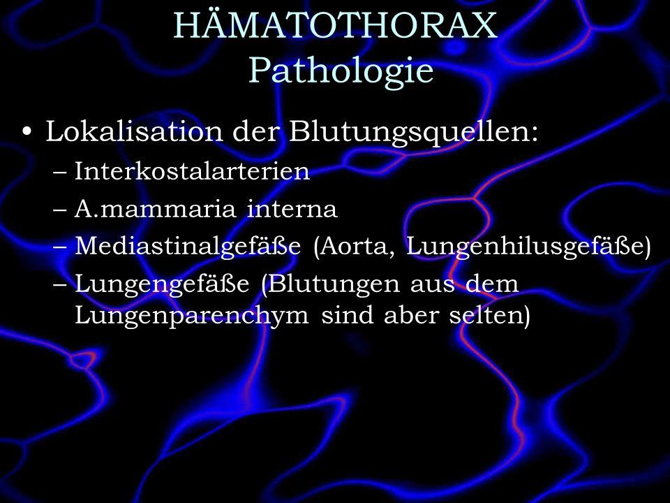 HÄMATOTHORAX Pathologie Lokalisation der Blutungsquellen: –Interkostalarterien –A.mammaria interna –Mediastinalgefäße (Aorta, Lungenhilusgefäße) –Lung