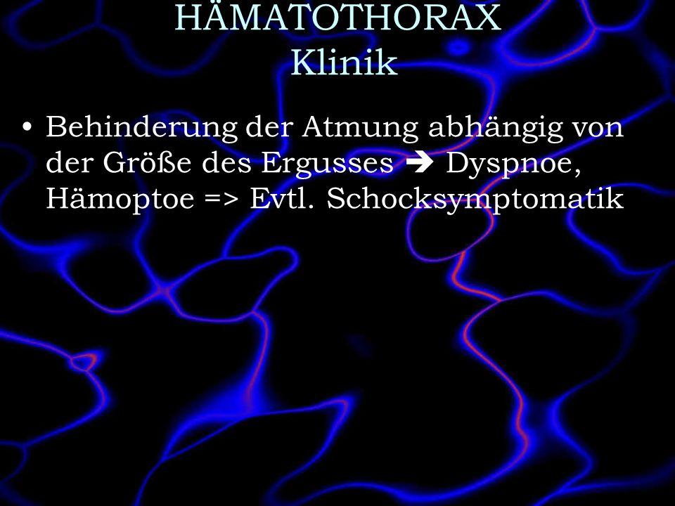 HÄMATOTHORAX Klinik Behinderung der Atmung abhängig von der Größe des Ergusses Dyspnoe, Hämoptoe => Evtl. Schocksymptomatik