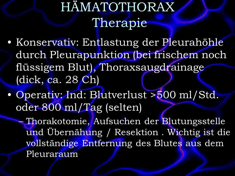 HÄMATOTHORAX Therapie Konservativ: Entlastung der Pleurahöhle durch Pleurapunktion (bei frischem noch flüssigem Blut), Thoraxsaugdrainage (dick, ca. 2