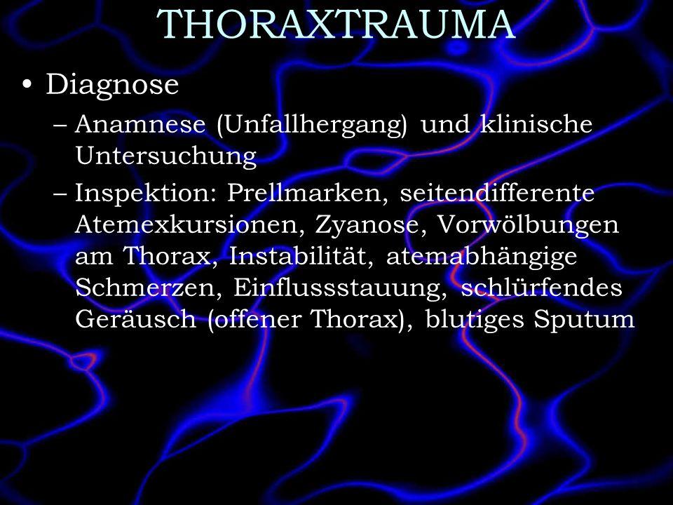 THORAXTRAUMA Diagnose –Anamnese (Unfallhergang) und klinische Untersuchung –Inspektion: Prellmarken, seitendifferente Atemexkursionen, Zyanose, Vorwöl