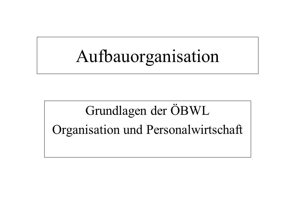 Aufbauorganisation Grundlagen der ÖBWL Organisation und Personalwirtschaft