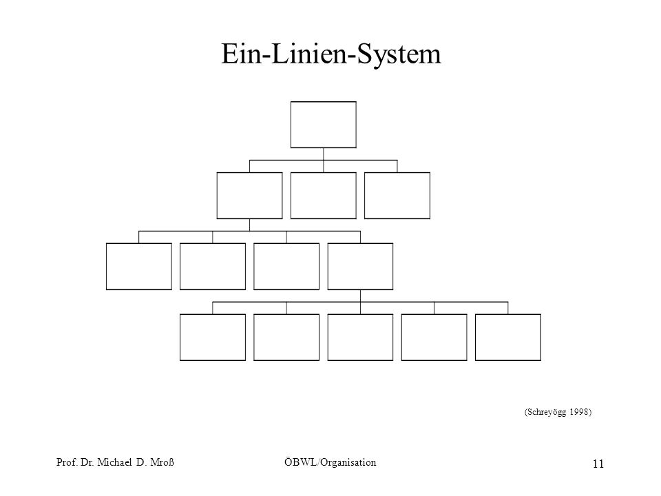 Prof. Dr. Michael D. MroßÖBWL/Organisation 11 Ein-Linien-System (Schreyögg 1998)