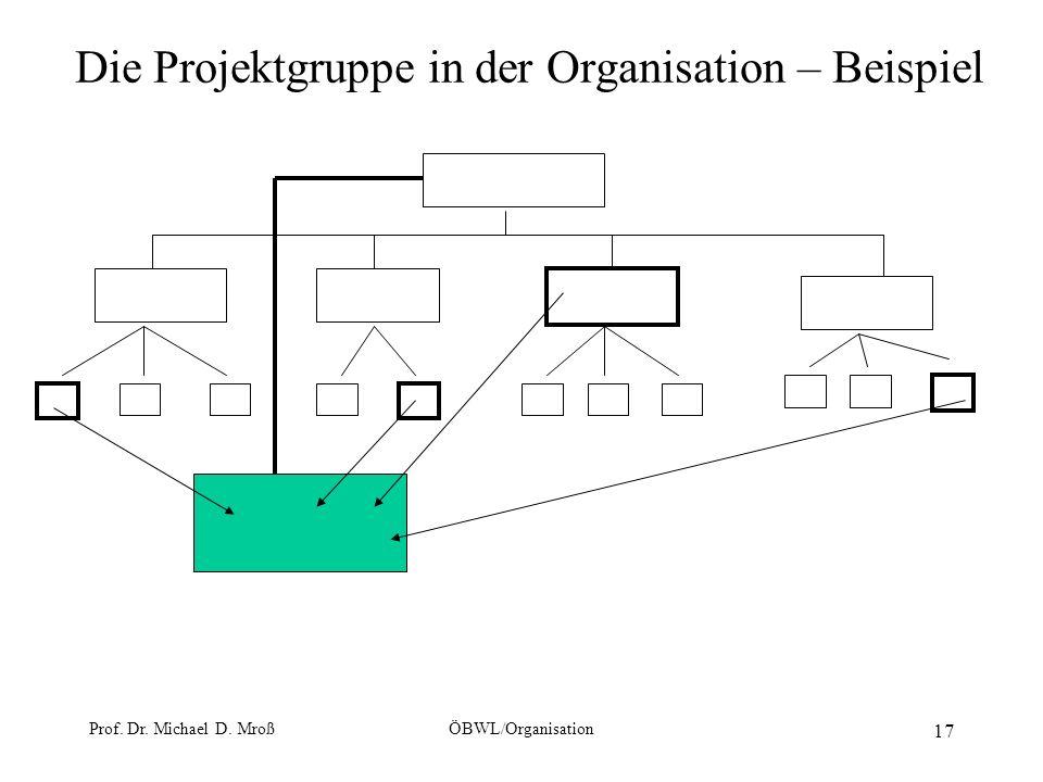Prof. Dr. Michael D. MroßÖBWL/Organisation 17 Die Projektgruppe in der Organisation – Beispiel