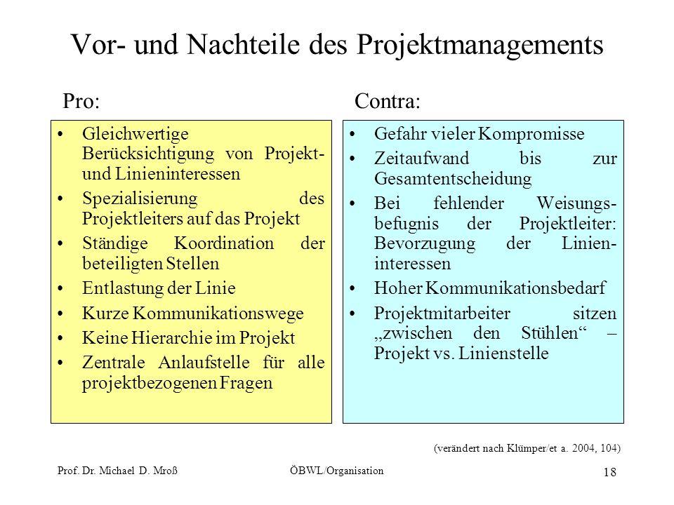 Prof. Dr. Michael D. MroßÖBWL/Organisation 18 Vor- und Nachteile des Projektmanagements Gleichwertige Berücksichtigung von Projekt- und Linieninteress