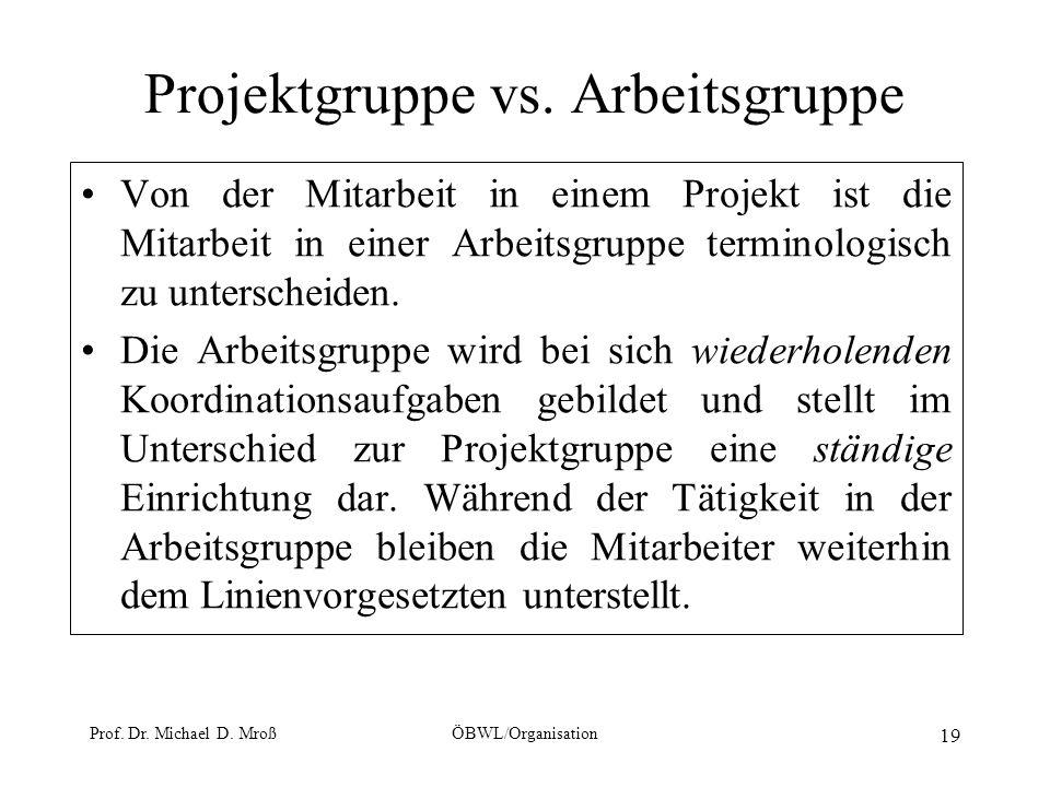 Prof. Dr. Michael D. MroßÖBWL/Organisation 19 Projektgruppe vs. Arbeitsgruppe Von der Mitarbeit in einem Projekt ist die Mitarbeit in einer Arbeitsgru