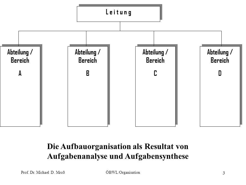 Prof. Dr. Michael D. MroßÖBWL/Organisation 3 L e i t u n g Abteilung / Bereich A Abteilung / Bereich A Abteilung / Bereich B Abteilung / Bereich B Abt