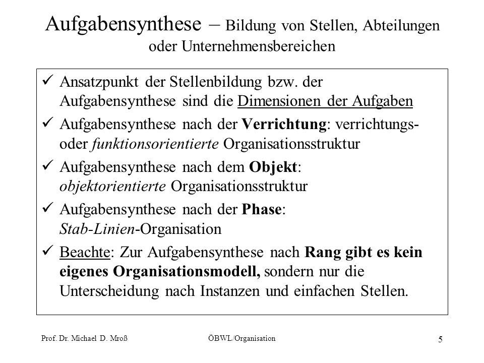 Prof. Dr. Michael D. MroßÖBWL/Organisation 5 Aufgabensynthese – Bildung von Stellen, Abteilungen oder Unternehmensbereichen Ansatzpunkt der Stellenbil