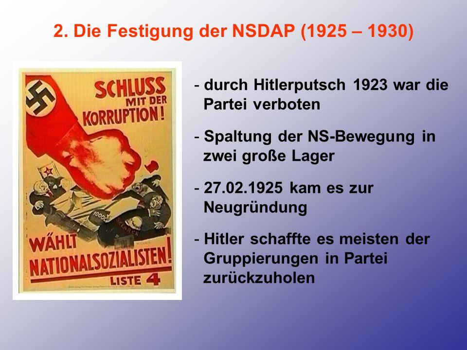 2. Die Festigung der NSDAP (1925 – 1930) - durch Hitlerputsch 1923 war die Partei verboten - Spaltung der NS-Bewegung in zwei große Lager - 27.02.1925