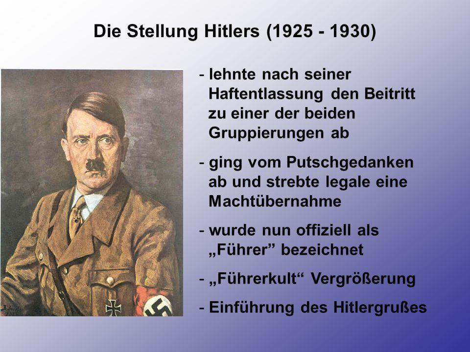 Die Stellung Hitlers (1925 - 1930) - lehnte nach seiner Haftentlassung den Beitritt zu einer der beiden Gruppierungen ab - ging vom Putschgedanken ab
