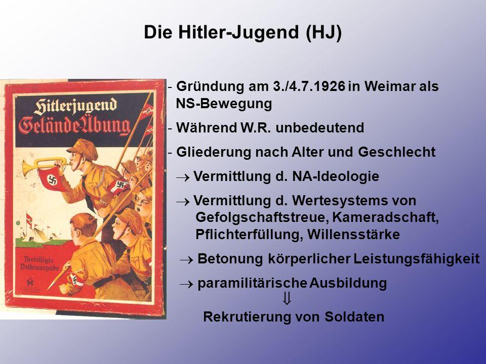 Die Hitler-Jugend (HJ) - Gründung am 3./4.7.1926 in Weimar als NS-Bewegung - Während W.R. unbedeutend - Gliederung nach Alter und Geschlecht Vermittlu