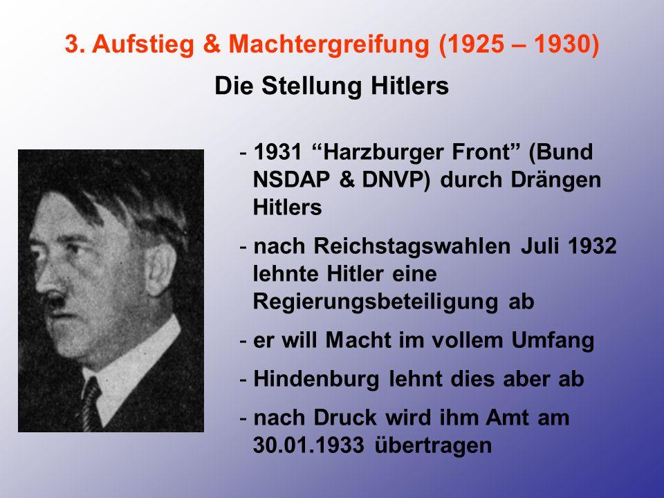3. Aufstieg & Machtergreifung (1925 – 1930) Die Stellung Hitlers - 1931 Harzburger Front (Bund NSDAP & DNVP) durch Drängen Hitlers - nach Reichstagswa