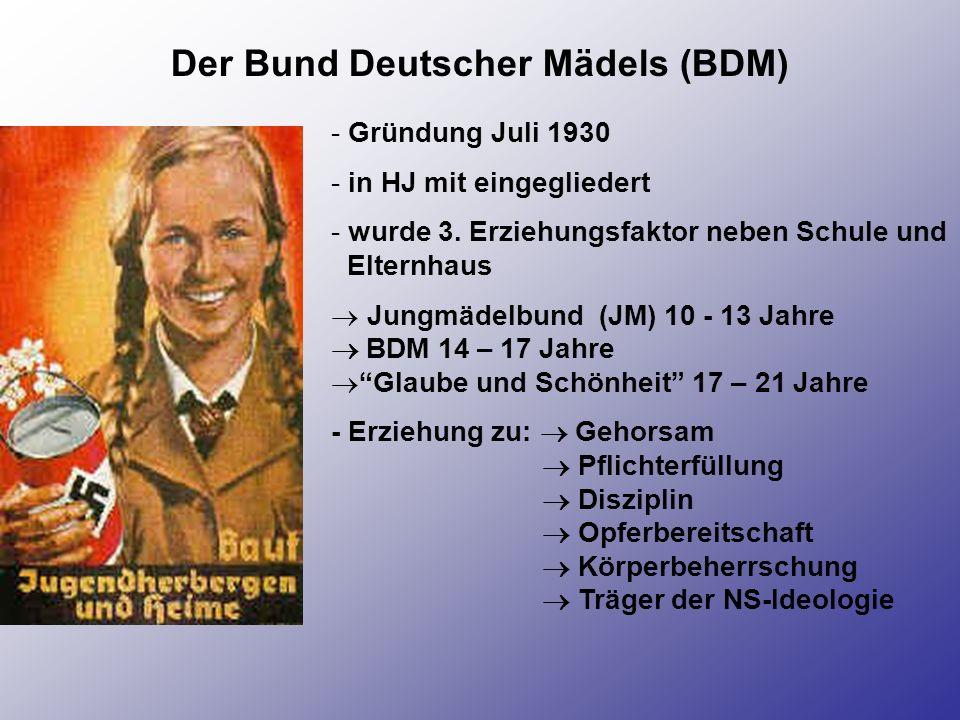 Der Bund Deutscher Mädels (BDM) - Gründung Juli 1930 - in HJ mit eingegliedert - wurde 3. Erziehungsfaktor neben Schule und Elternhaus Jungmädelbund (