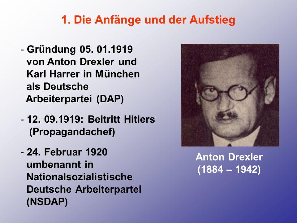 1. Die Anfänge und der Aufstieg - Gründung 05. 01.1919 von Anton Drexler und Karl Harrer in München als Deutsche Arbeiterpartei (DAP) - 12. 09.1919: B
