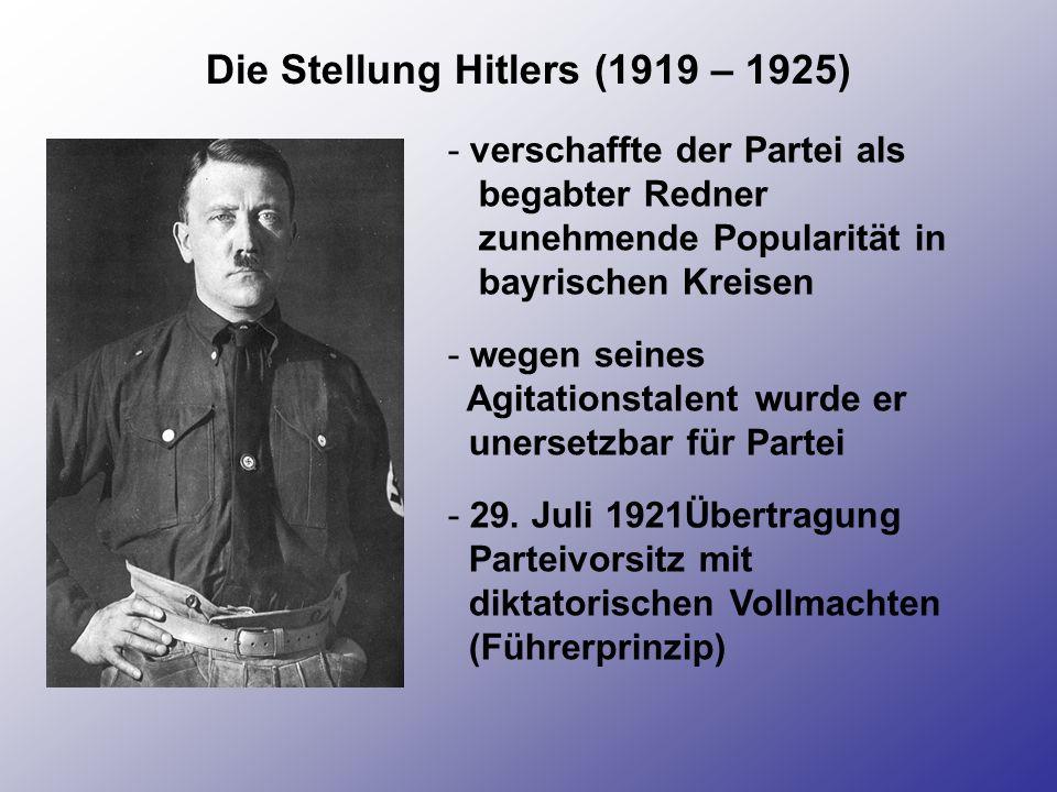 Gründung der Sturmabteilung (SA) - Gründung im August 1921 durch Hitler - Anfangs als Saalschutz für politische Veranstaltungen - bestand aus ehemaligen Saalordnern der Partei und Mitglieder von aufgelösten Freikorps - SA wurde Instrument der NS-Propaganda - 1925-1930 hatte sie 60 000 Mitglieder in 200 Ortsvereinen