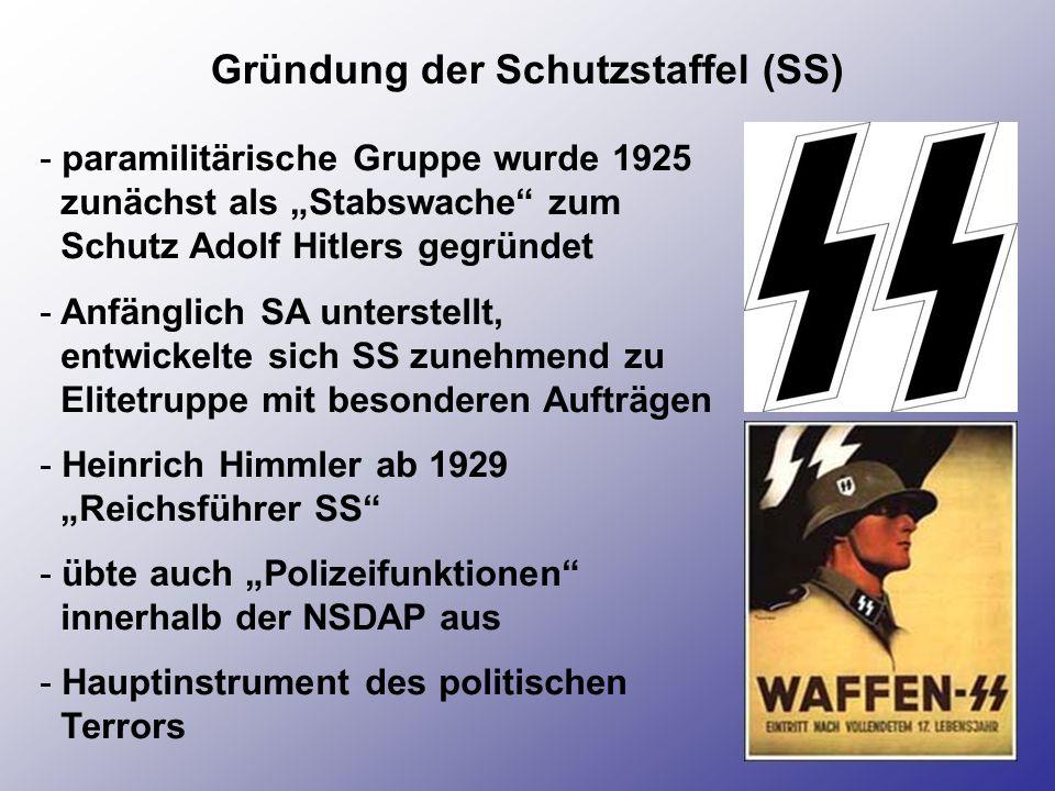 Gründung der Schutzstaffel (SS) - paramilitärische Gruppe wurde 1925 zunächst als Stabswache zum Schutz Adolf Hitlers gegründet - Anfänglich SA unters